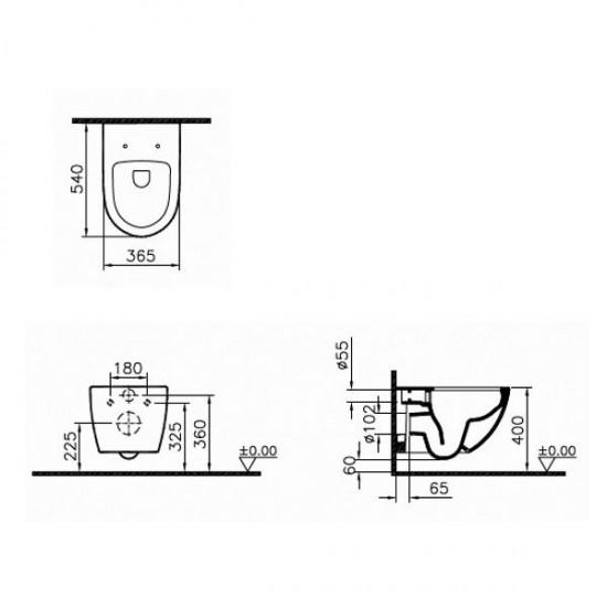 Унитаз подвесной SENTO RIM-EX 7748B003-0075 сиденье тонкое м/лифт 120-003-009