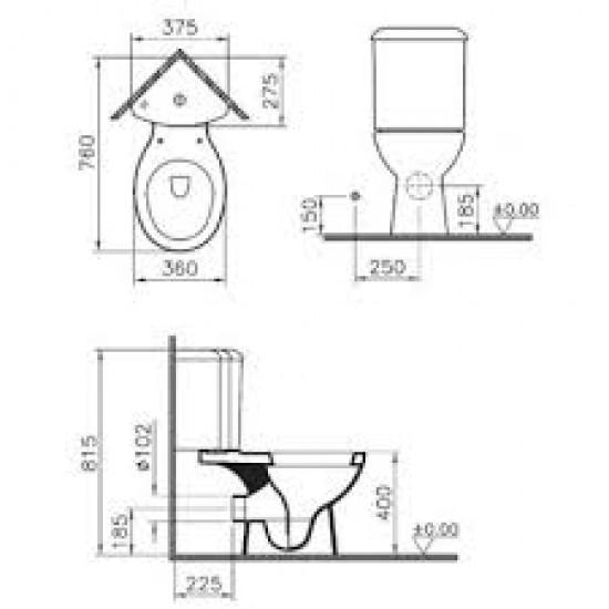Угловой унитаз ARKITEKT 9754B003-7201 с сид.м/лифт