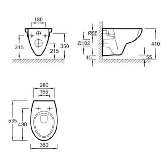 Унитаз подвесной PATIO EDV102-00 безоб.36х53,5 бел,Инст.E29025-NF,микрE70021-00,клавишаE29027 хром