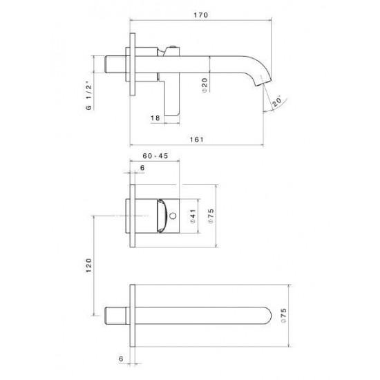 Cмеситель для раковины LINEA 71028EKM.21.018 настенный,внешняя часть хром