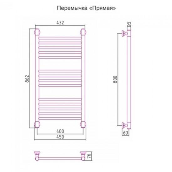 Полотенцесушитель водяной БОГЕМА + 00-0221-8040 800х400