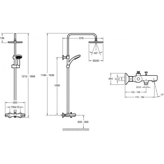Душевая колонна с термостатом с изливом  JULY E99741-CP и круглым верхним душем хром