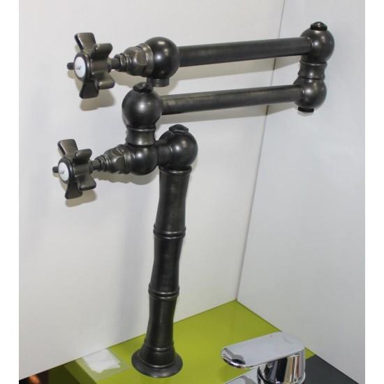 Кран для кухни D.ANGLAISES 1452FV черный с запорным вентелем , ручка крест.