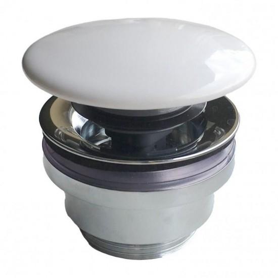 Донный клапан DR.1/WHT для раковин PLAZA с керамической крышкой, белый, без перелива
