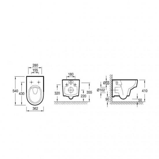 Унитаз подвесной ODEON RIVE GAUCHE EDR102-00 сиденье E24889-00 м/лифт