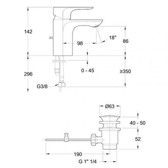 Смеситель для раковины ALEO E72275-4-CP с донным клапаном, хром