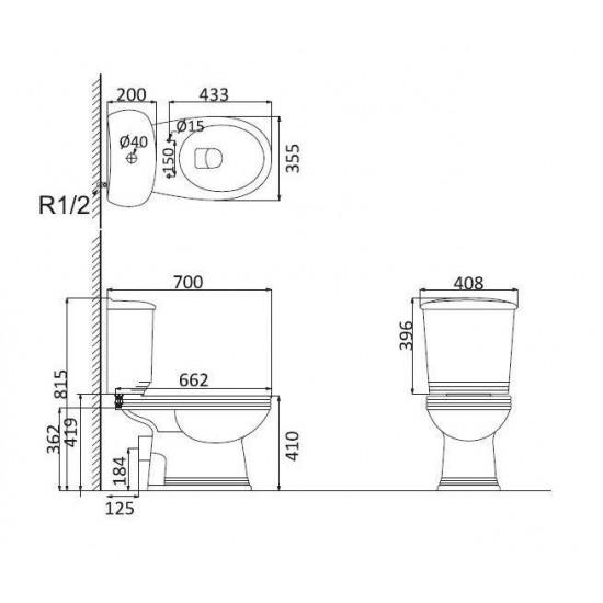 Унитаз + бачок MARSEILLE HDC236P+S236+UF5011S MA1002+MA1003+MA1001(MA1001N(UF3021-332) сид. м/л