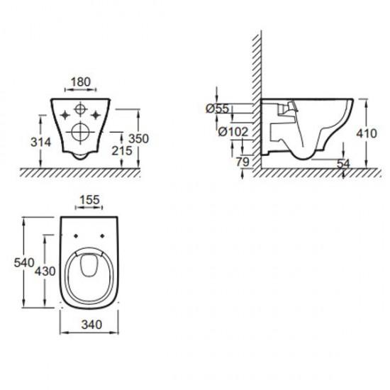 Унитаз подвесной STRUKTURA EDE102-00 безободковый с сиденьем м/лифт E70024-00