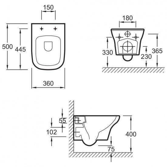 Унитаз подвесной VOX EDM102-00 безободковый с сиденьем м/лифт E20142-00