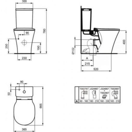 Унитаз с бачком CONNECT AIR  AQUABLADE E013701+E073901 +сиденье E036601